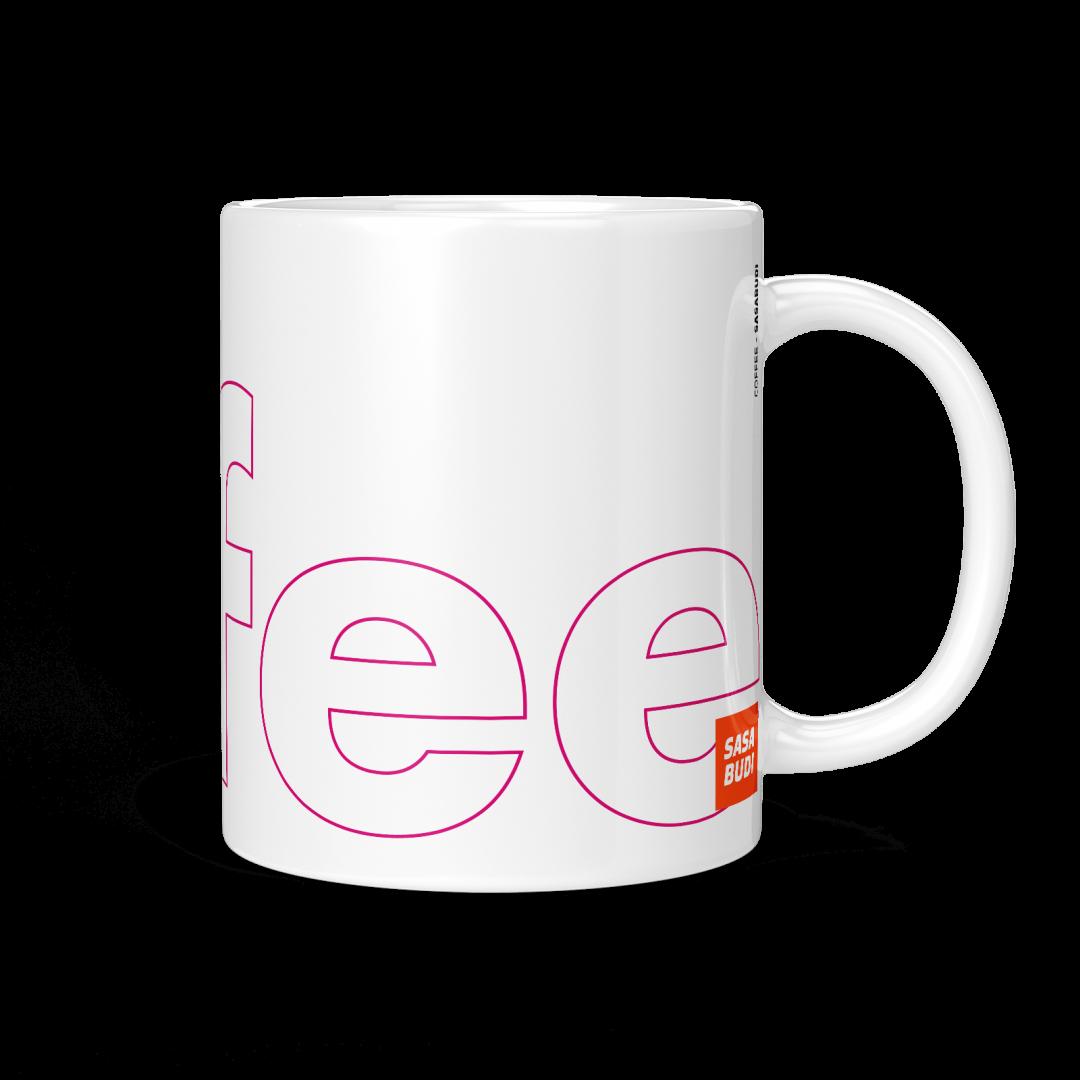 Coffee Typography Mug 11oz - Berry