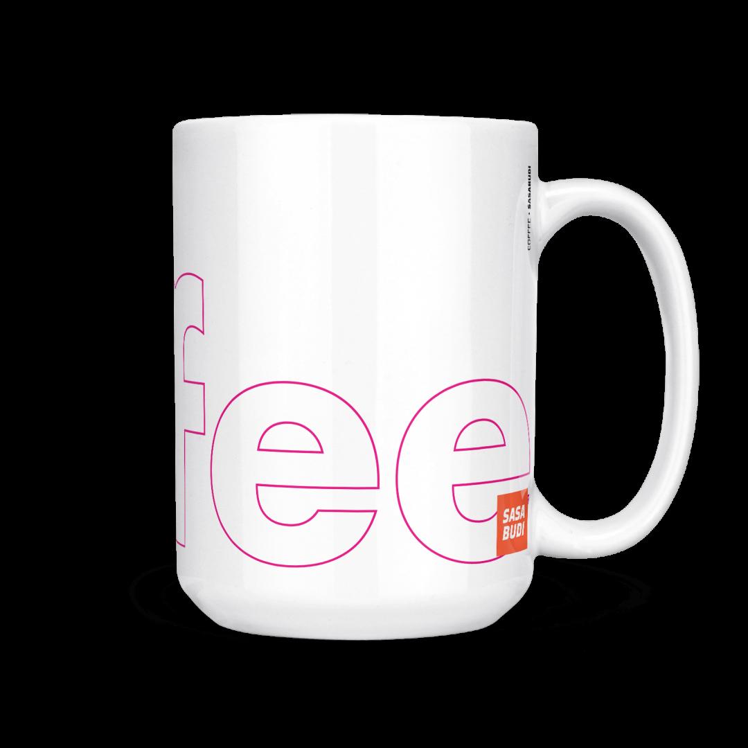 Coffee Typography Mug 15oz - Berry
