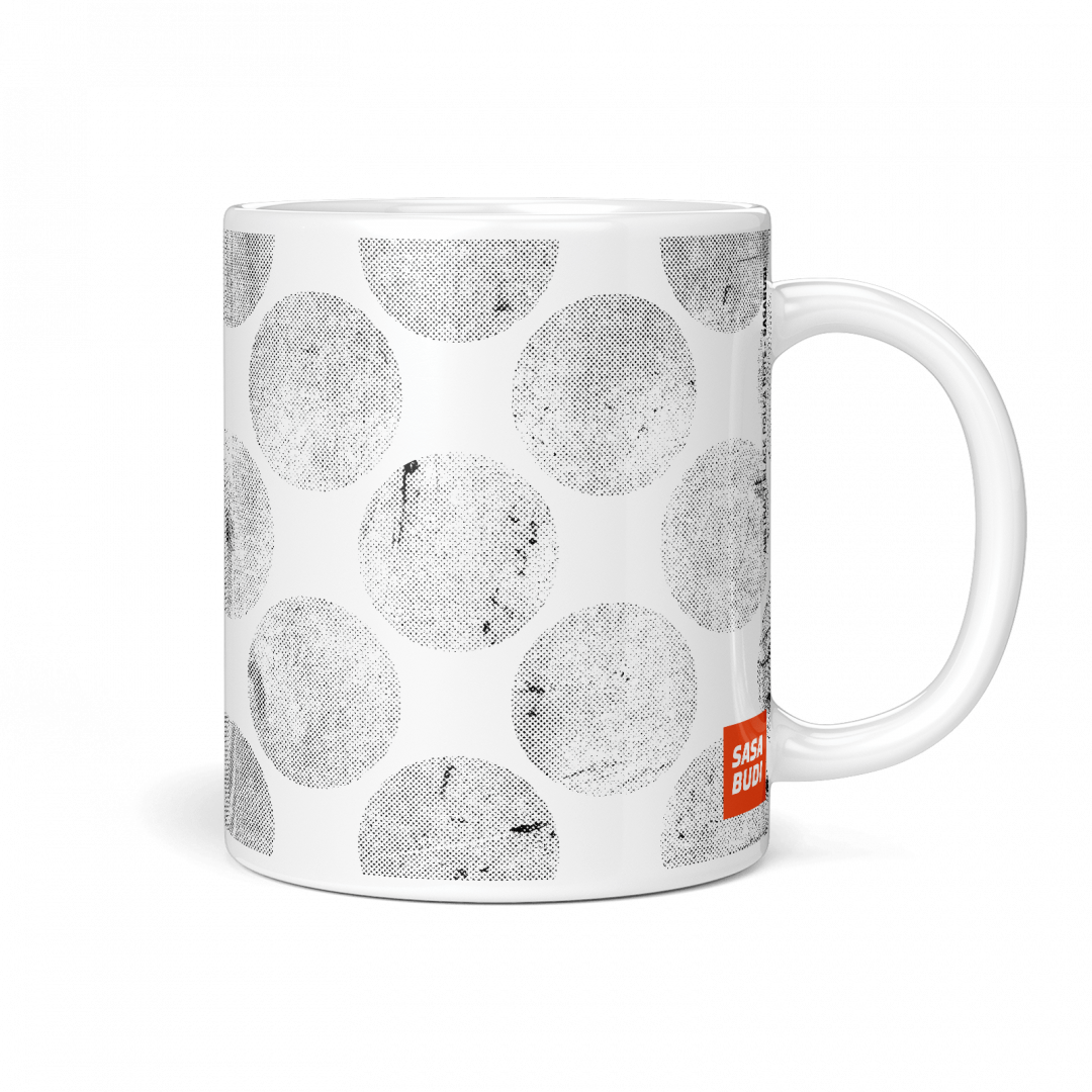 Abstract Black Polka Dots Coffee Mug 11oz