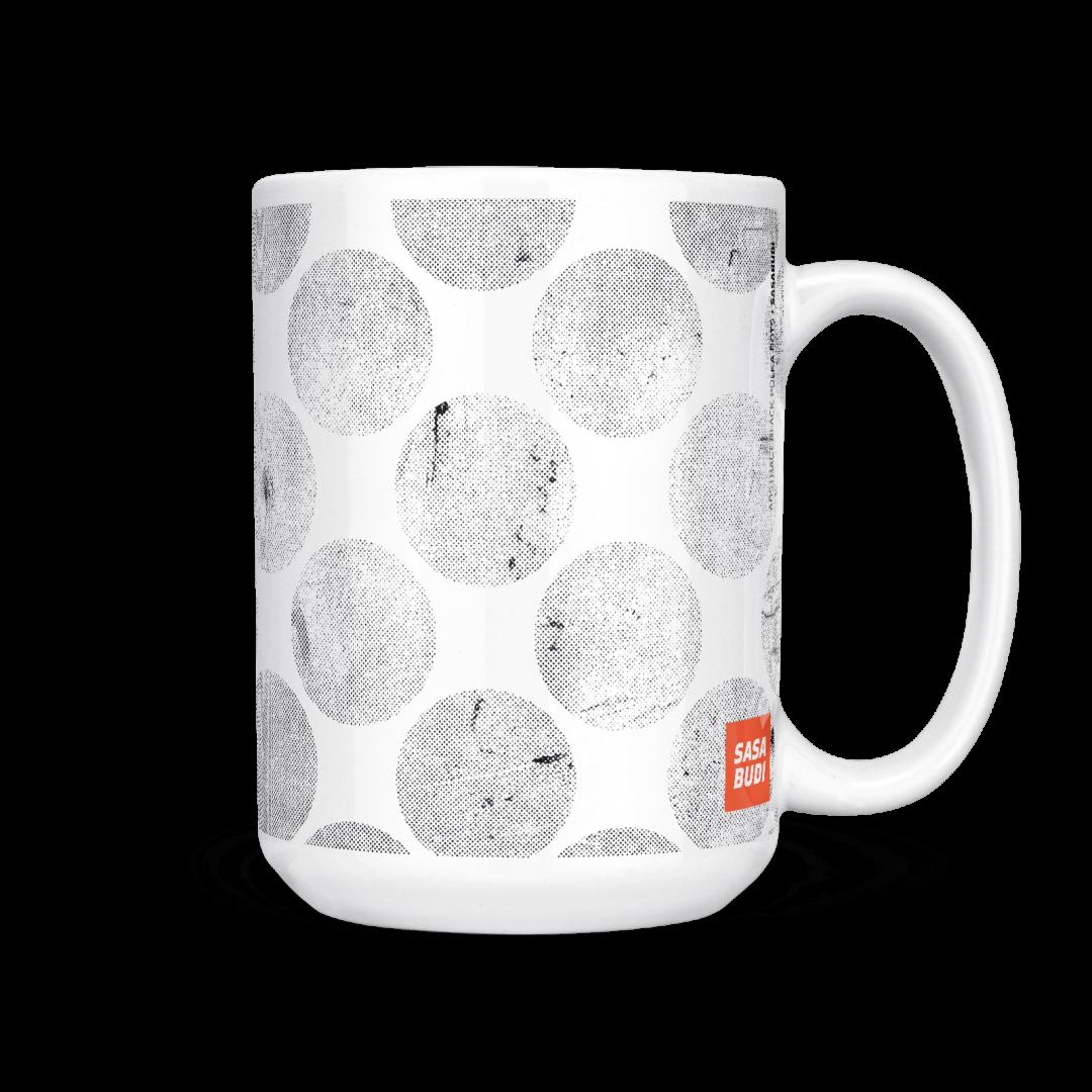 Abstract Black Polka Dots Coffee Mug 15oz