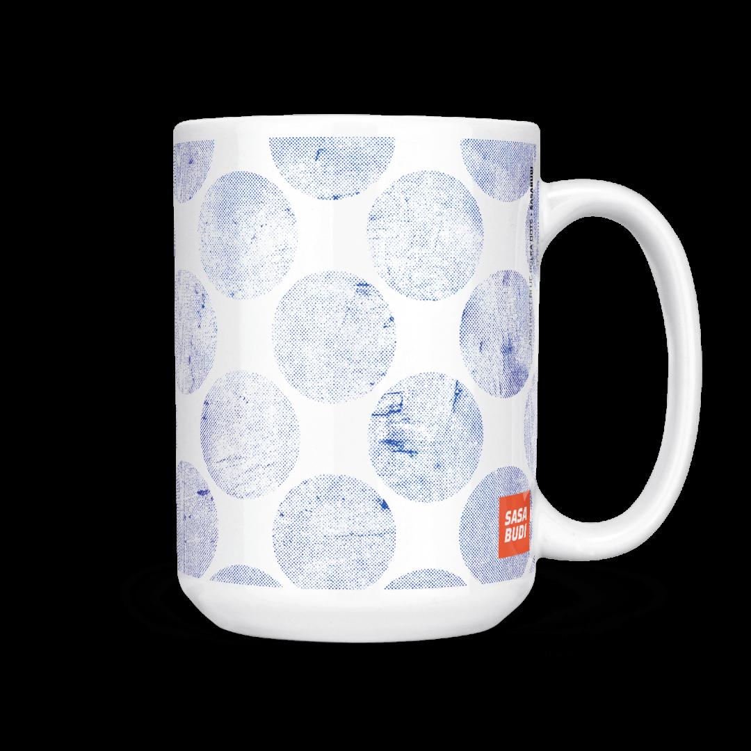 Abstract Blue Polka Dots Coffee Mug 15oz