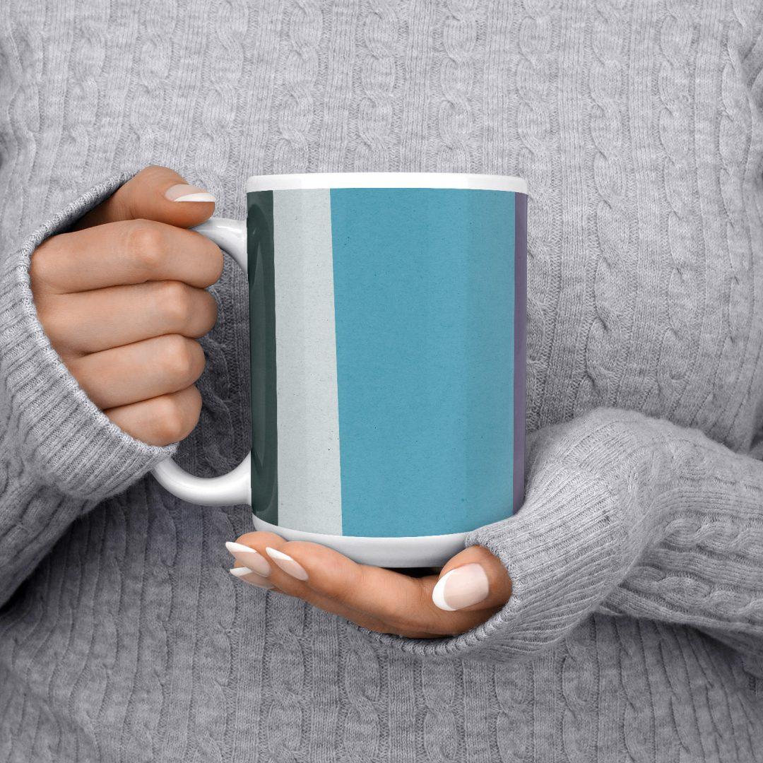 Colored Paper Stripes No1 Geometric Coffee Mug 15oz