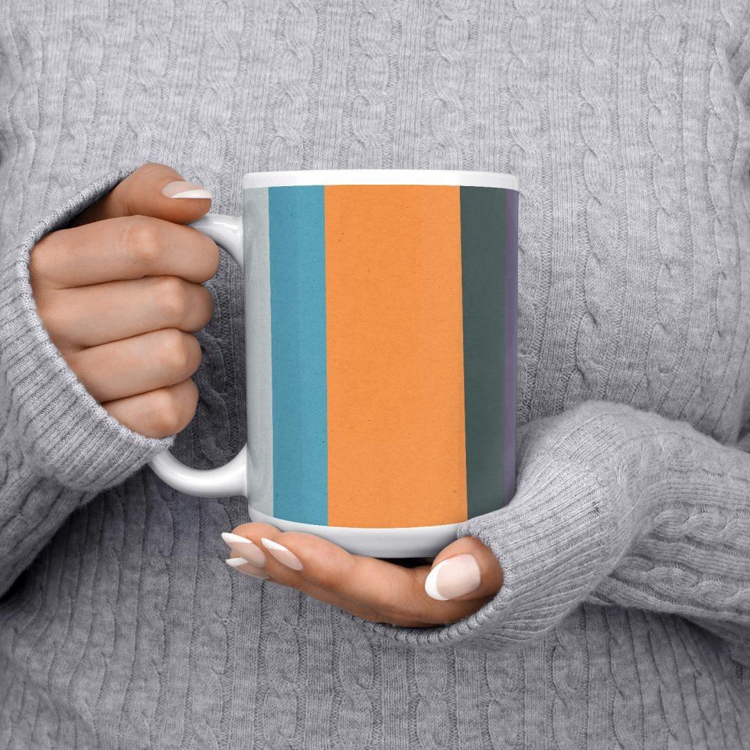 Colored Paper Stripes No3 Geometric Coffee Mug 15oz