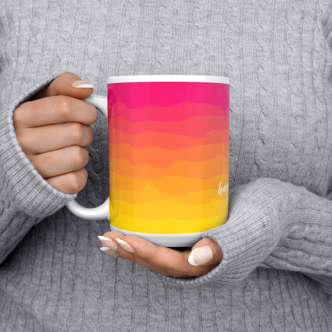 Happiness Comes In Waves No3 Coffee Mug 15oz