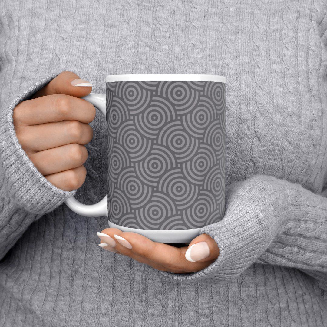 Sasabudi Authentic Circles Asphalt Coffee Mug 15oz