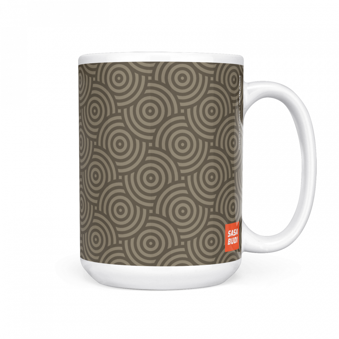 Sasabudi Authentic Circles Urban Jungle Coffee Mug 15oz