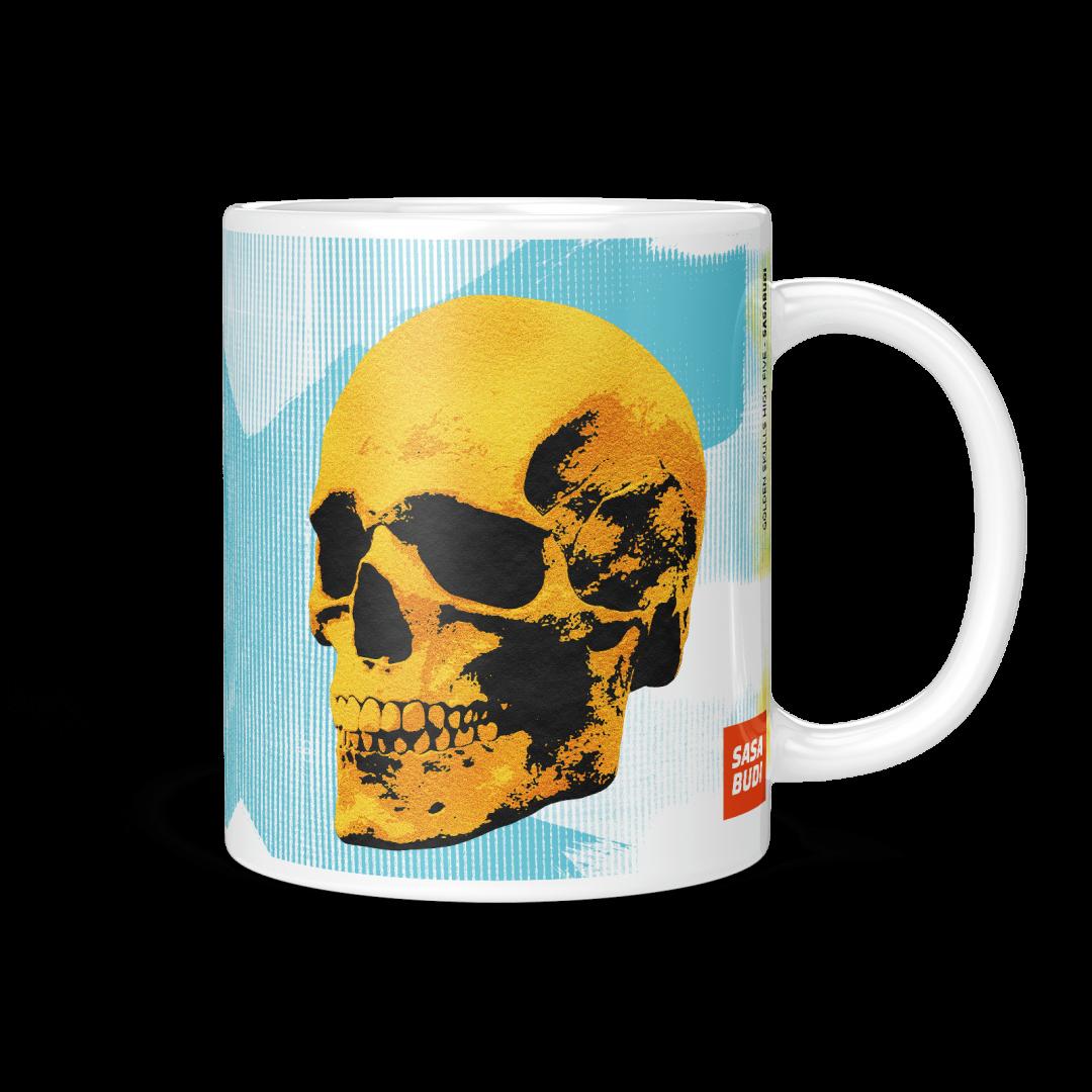 Sasabudi Golden Skulls High Five Pop Art Coffee Mug 11oz