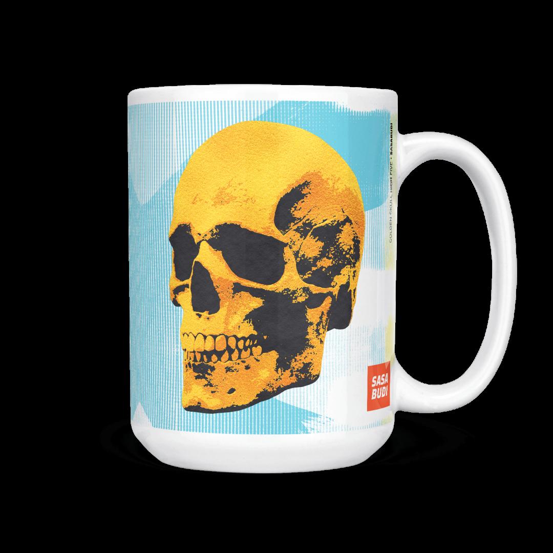 Sasabudi Golden Skulls High Five Pop Art Coffee Mug 15oz
