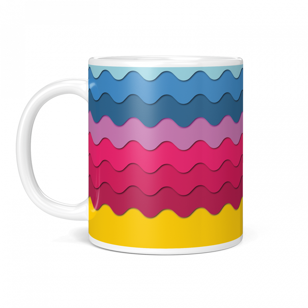 Sasabudi Retro Wave Bonbon Geometric Coffee Mug 11oz