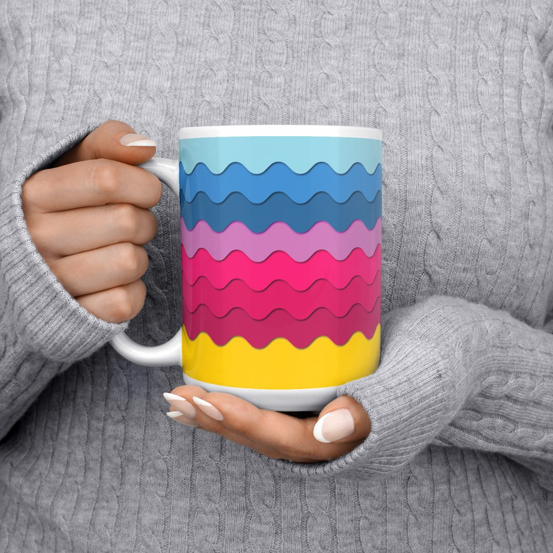 Sasabudi Retro Wave Bonbon Geometric Coffee Mug 15oz