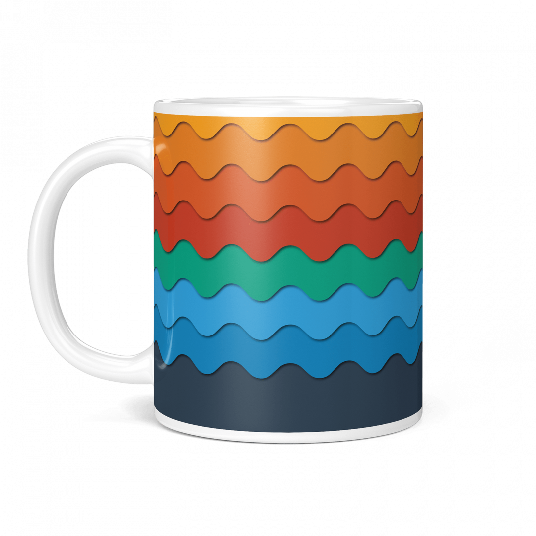 Sasabudi Retro Wave Classic Geometric Coffee Mug 11oz