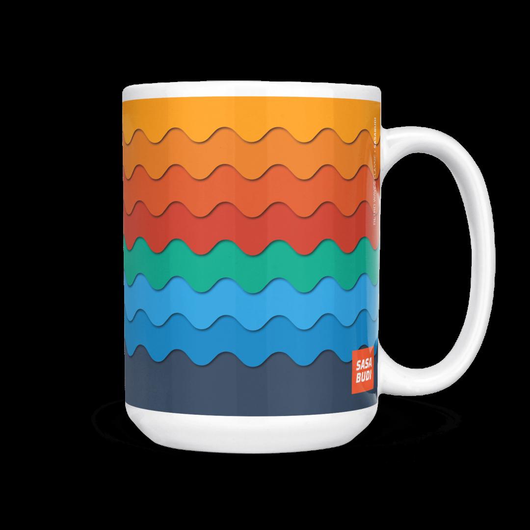 Sasabudi Retro Wave Classic Geometric Coffee Mug 15oz