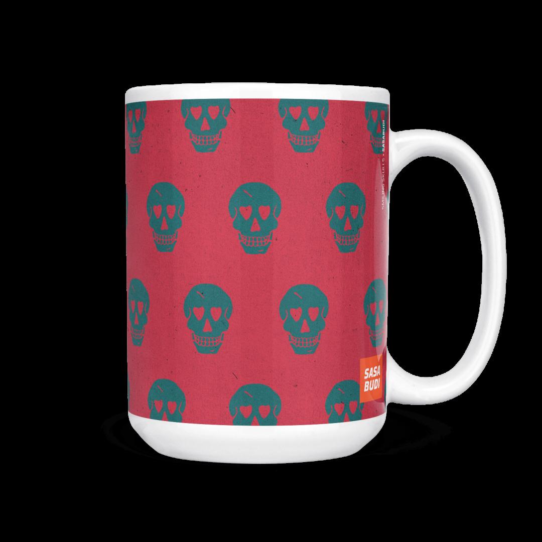 Sasabudi Smiling Skulls Abstract Coffee Mug 15oz